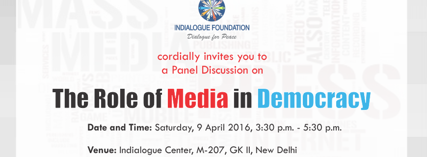 Invitation For A Panel Discussion On The Role Of Media In Democracy